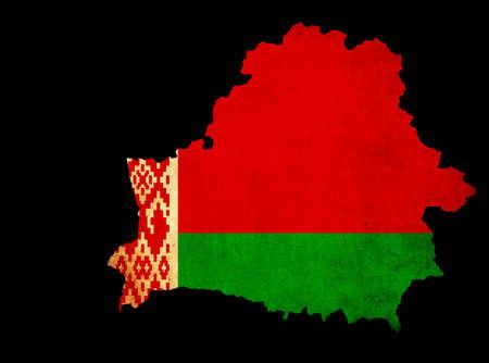 eec: Map outline of Belarus with flag insert grunge effect