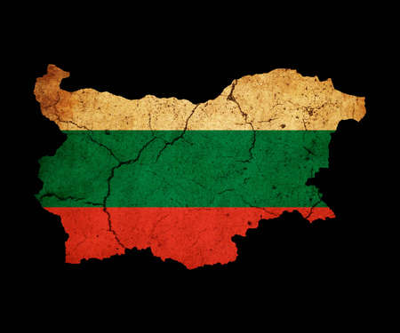 Map outline of Bulgaria with flag insert grunge effect photo