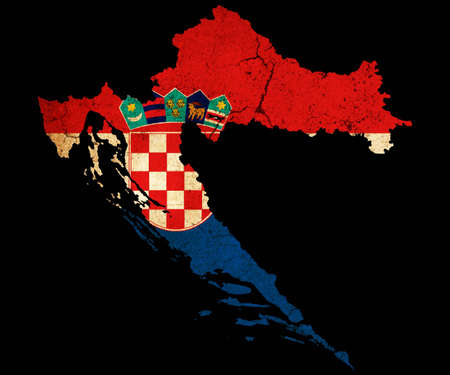 eec: Map outline of Croatia with flag insert grunge effect