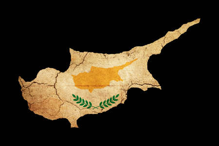 eec: Map outline of Cyprus with flag insert grunge effect