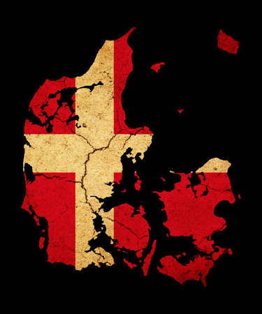 Map outline of Denmark with flag insert grunge effect photo