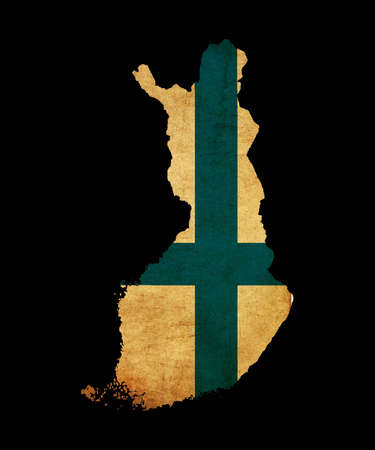 Map outline of Finland with flag insert grunge effect Stock Photo - 12651410