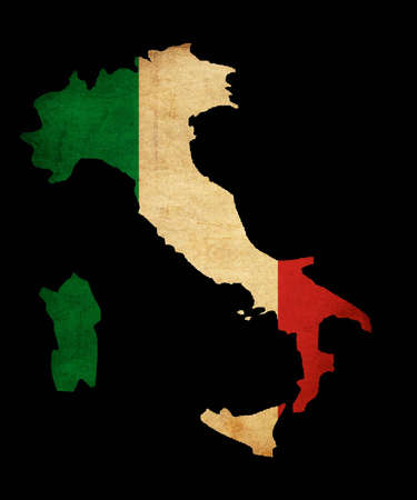 Map outline of Italy with flag insert grunge effect photo