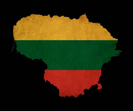 Map outline of Lithuania with flag insert grunge effect photo