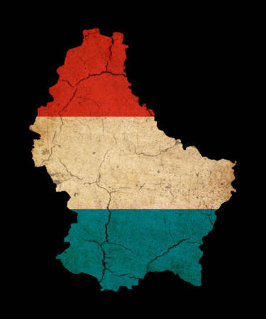 Map outline of Luxembourg with flag insert grunge effect photo