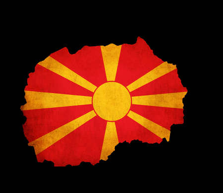 Map outline of Macedonia with flag insert grunge effect photo