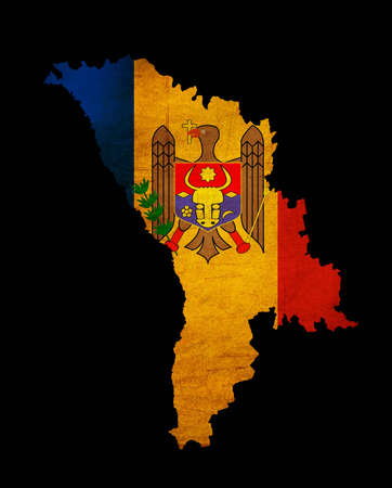 Map outline of Moldova with flag insert grunge effect