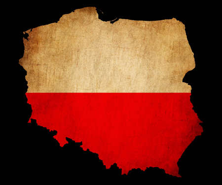Map outline of Poland with flag insert grunge effect photo