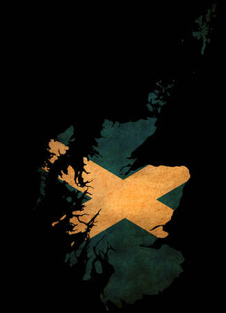Map outline of Scotland with flag insert grunge effect photo