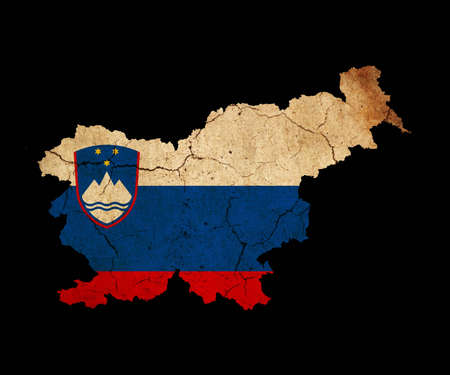 eec: Map outline of Slovenia with flag insert grunge effect
