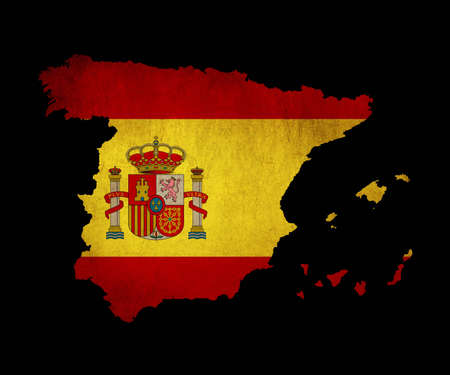 Map outline of Spain with flag insert grunge effect