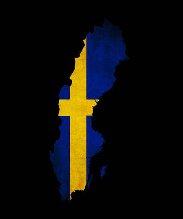 Map outline of Sweden with flag insert grunge effect photo
