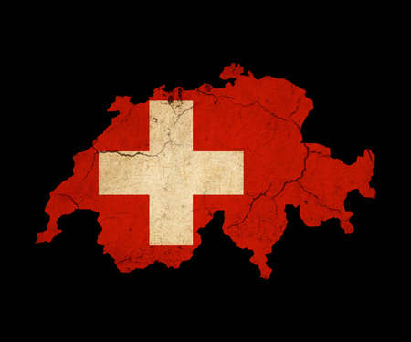 Map outline of Switzerland with flag insert grunge effect photo