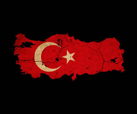 eec: Map outline of Turkey with flag insert grunge effect