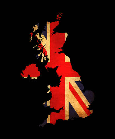 Map outline of United Kingdom with flag insert grunge effect photo