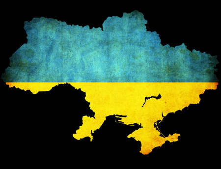 Map outline of Ukraine with flag insert grunge effect photo