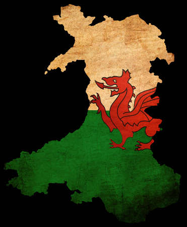 Map outline of Wales with flag insert grunge effect Stock Photo - 12651388