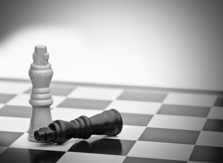defeated: Application of chess strategy and tactics into business field concept Stock Photo