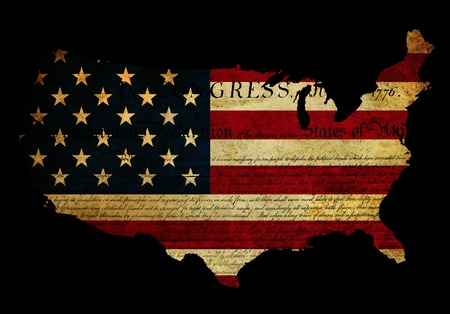 shown: Grunge effect applied to USA flag with Declaration of Independence text also shown