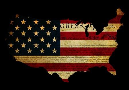Grunge effect toegepast op de vlag van de VS met de Verklaring van Onafhankelijkheid tekst ook getoond Stockfoto