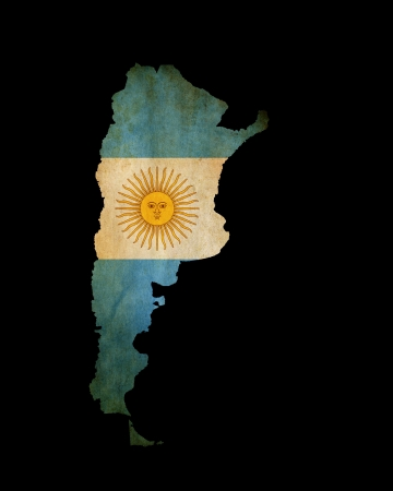 argentina flag: Map outline of Argentina isolated on black with grunge effect flag insert