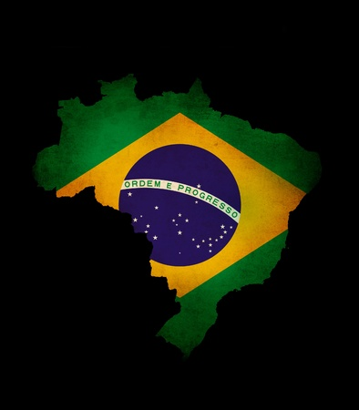 Map outline of  Brazil isolated on black with grunge effect flag insert Stock Photo - 13189945