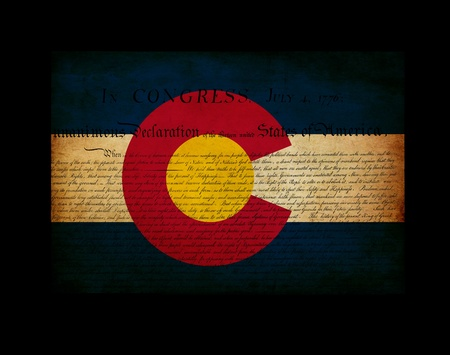declaration of independence: USA American Colorado state map outline with grunge ef fect flag insert and Declaration of Independence overlay