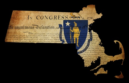 declaration of independence: USA American Massachussetts state map outline with grunge effect flag insert and Declaration of Independence overlay