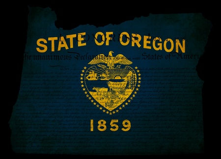 USA American Oregon state map outline with grunge effect flag insert and Declaration of Independence overlay Stock Photo - 13387214