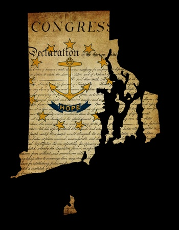 declaration of independence: USA American Rhode Island state map outline with grunge effect flag insert and Declaration of Independence overlay Stock Photo