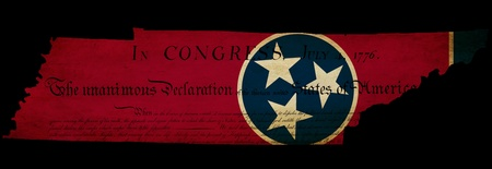 declaration of independence: USA American Tennessee state map outline with grunge effect flag insert and Declaration of Independence overlay
