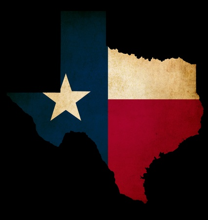 USA American Texas state map outline with grunge effect flag insert
