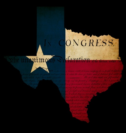 declaration of independence: USA American Texas state map outline with grunge effect flag insert and Declaration of Independence overlay