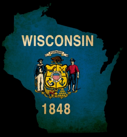 Wisconsin USA state grunge effect map Reklamní fotografie