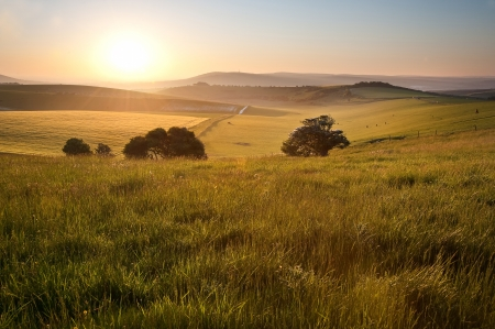 Beautiful sunrise over English countryside landscape in Summer Stock Photo - 13851351
