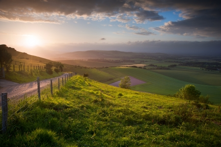 Stunning landscape at sunset over rolling English countryside Stock Photo - 14205363