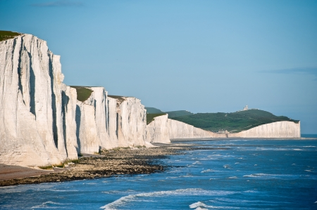 Landscape of Seven Sisters cliffs in South Downs National Park on English coast