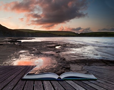 Creative composite image of seascape in pages of magic book Foto de archivo