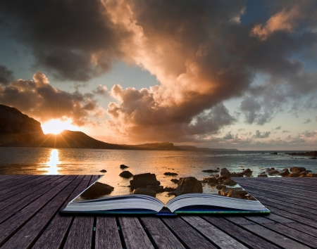 Creative composite image of seascape in pages of magic book Stock Photo