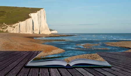 Creative composite image of seascape in pages of magic book Stock Photo - 14929155