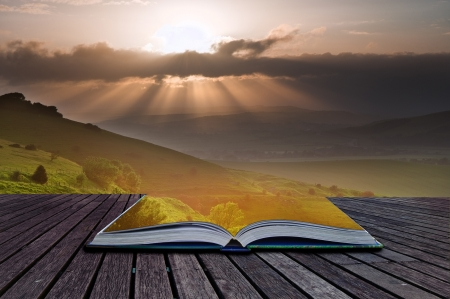 sunlgiht: Creative composite image of Summer landscape in pages of magic book