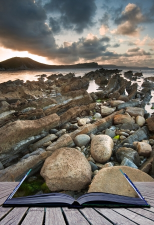 sunlgiht: Creative composite image of seascape in pages of magic book Stock Photo