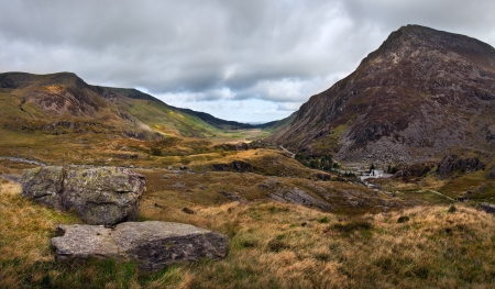 View along Nant Francon mountain valley in Snowdonia National Park in Wales Stock Photo - 15521892