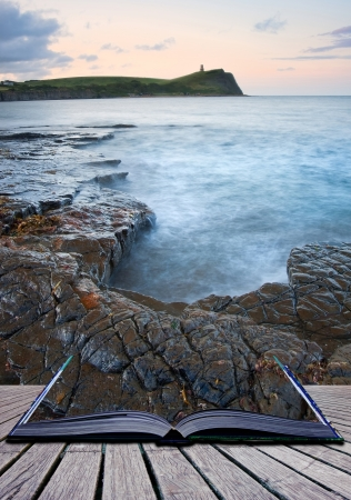 kimmeridge bay: Creative composite image of seascape in pages of magic book Stock Photo