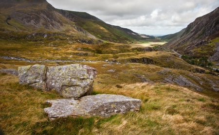 View along Nant Francon mountain valley in Snowdonia National Park in Wales Stock Photo - 15533601