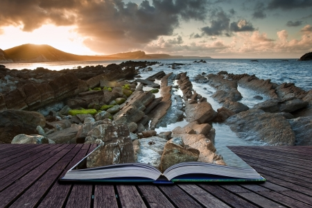 magic book: Creative composite image of seascape in pages of magic book Stock Photo