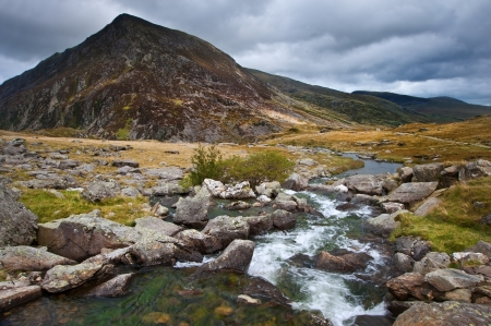 snowdonia: View over waterfall towards Pen-yr-Ole-Wen mountian in Snowdonia National Park