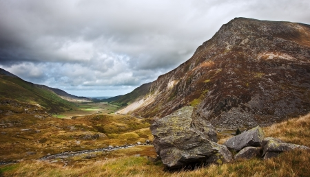 View along Nant Francon mountain valley in Snowdonia National Park in Wales