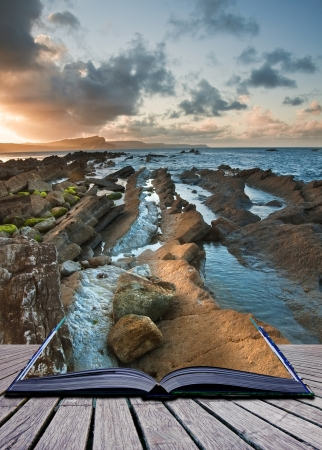 Creative composite image of seascape in pages of magic book photo