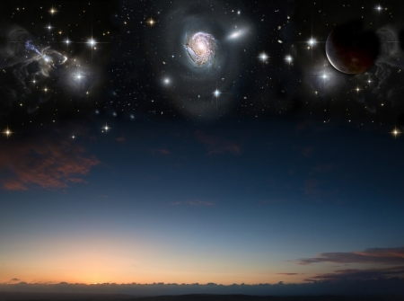 Countryside sunset landscape with planets in night sky photo
